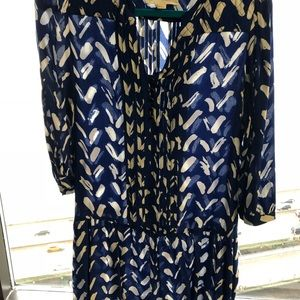 Royal blue and white detailed dress